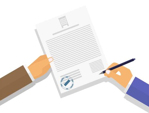 Vector illustration. The image of the hands of businessmen or clerks, office workers, lawyers, civil servants and client signatories contract. Modern concept for web banner, web sites, infographics.