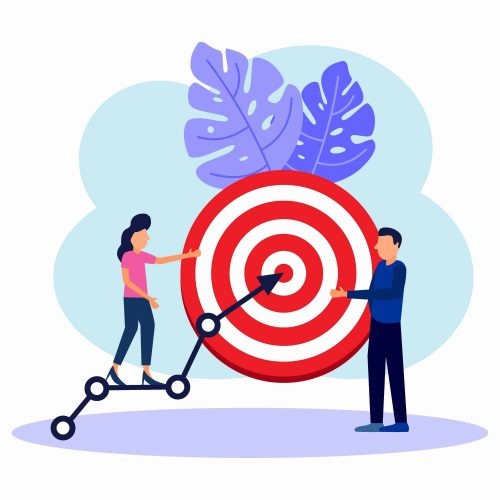 Vector illustration of business concepts, targets with graphs, press targets, creative ideas, teamwork, goal achievement.